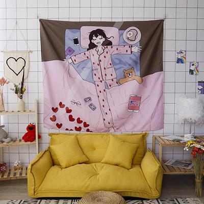 ins抖音背景布挂布卡通可爱美少女心北欧日系装饰画卧室拍照宿舍壁挂毯盖布墙布 130*150 睡觉少女