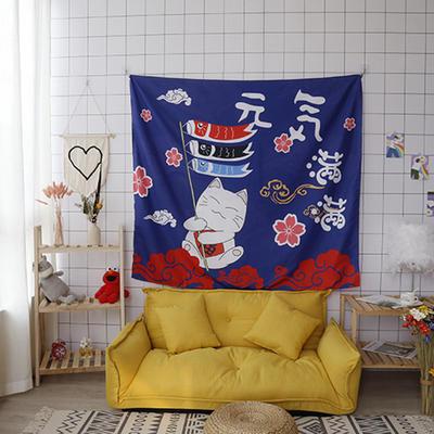ins抖音背景布挂布卡通可爱美少女心北欧日系装饰画卧室拍照宿舍壁挂毯盖布墙布 130*150 元气猫