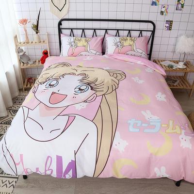 纯棉款美少女心卡通可爱扭蛋机小飞象暴富猪史努比达菲熊面包超人爆款宿舍单双人床三四件套 1.2m床单款三件套 露娜