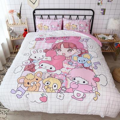 纯棉款美少女心卡通可爱扭蛋机小飞象暴富猪史努比达菲熊面包超人爆款宿舍单双人床三四件套 1.2m床单款三件套 猫咪少女