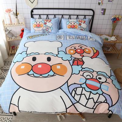 纯棉款美少女心卡通可爱扭蛋机小飞象暴富猪史努比达菲熊面包超人爆款宿舍单双人床三四件套 1.2m床单款三件套 面包超人