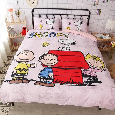 纯棉款美少女心卡通可爱扭蛋机小飞象暴富猪史努比达菲熊面包超人爆款宿舍单双人床三四件套 1.2m床单款三件套 史努比