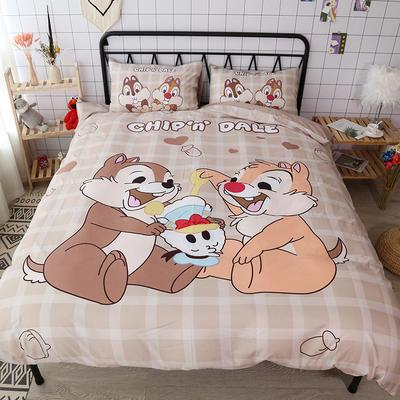 纯棉款美少女心卡通可爱扭蛋机小飞象暴富猪史努比达菲熊面包超人爆款宿舍单双人床三四件套 1.2m床单款三件套 松鼠