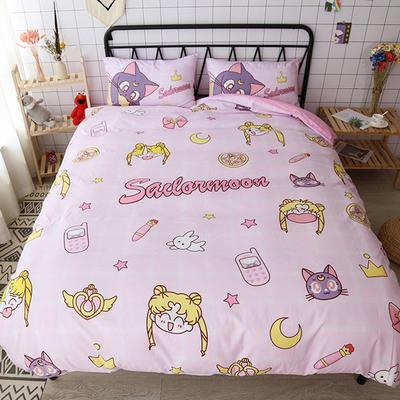 纯棉款美少女心卡通可爱扭蛋机小飞象暴富猪史努比达菲熊面包超人爆款宿舍单双人床三四件套 1.2m床单款三件套 无敌美少女