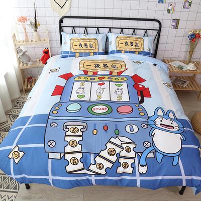 纯棉款美少女心卡通可爱扭蛋机小飞象暴富猪史努比达菲熊面包超人爆款宿舍单双人床三四件套 1.2m床单款三件套 游戏机