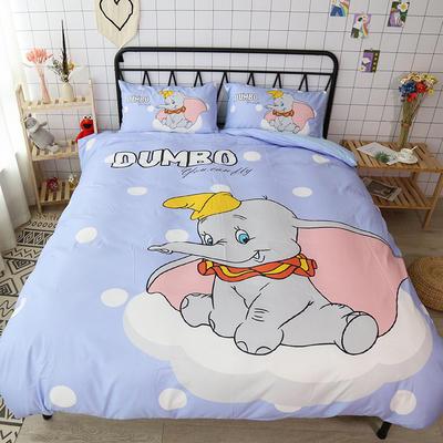 纯棉款美少女心卡通可爱扭蛋机小飞象暴富猪史努比达菲熊面包超人爆款宿舍单双人床三四件套 1.2m床单款三件套 小飞象