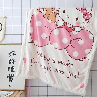 卡通宝宝儿童毛毯羊羔绒面包超人哆啦kitty公主史努比可爱盖毯推车毯 100*140cm 粉色猫咪
