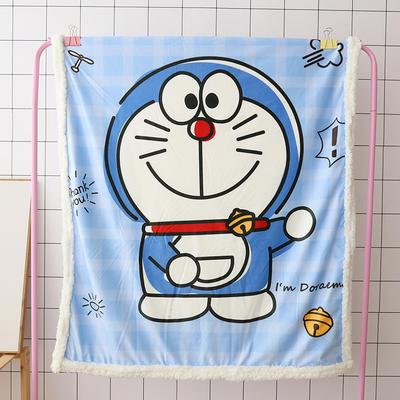 卡通宝宝儿童毛毯羊羔绒面包超人哆啦kitty公主史努比可爱盖毯推车毯 100*140cm 机器猫