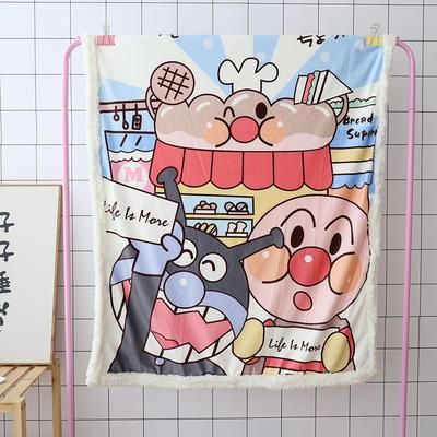 卡通宝宝儿童毛毯羊羔绒面包超人哆啦kitty公主史努比可爱盖毯推车毯 100*140cm 蓝色面超