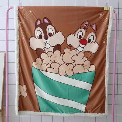 卡通宝宝儿童毛毯羊羔绒面包超人哆啦kitty公主史努比可爱盖毯推车毯 100*140cm 两只松鼠