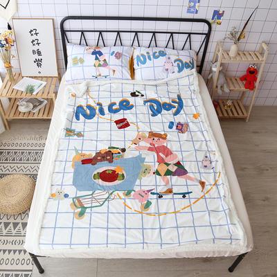 【正版授权设计师合作款】卡通二次元可爱羊羔绒毛毯美少女战士少女心面包超人达菲熊盖毯办公毯沙发毯 150*200cm 美好一天