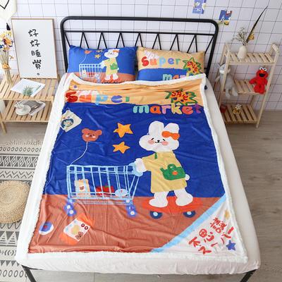 【正版授权设计师合作款】卡通二次元可爱羊羔绒毛毯美少女战士少女心面包超人达菲熊盖毯办公毯沙发毯 150*200cm 神奇超市