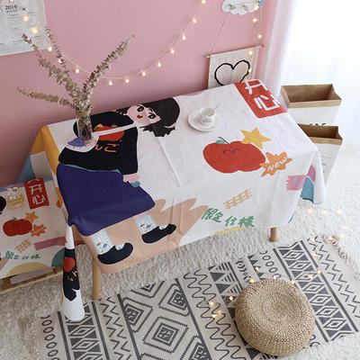 【正版授权联名款】卡通二次元可爱日系少女心亚麻棉麻桌布盖布茶几布 70*70cm 天天开心