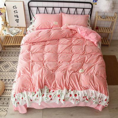 2019新款美人鱼尾-神仙颜值必入款超美腻保暖的小清新款四件套12月3日出货 1.5m床单款 粉格子草莓