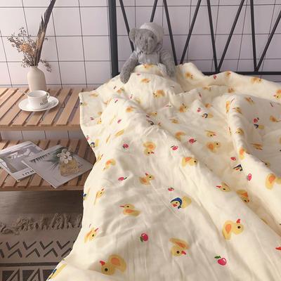 全棉双层纱棉花芯儿童夏被盖被推车毯卡通多功能纱布巾毯 100*140cm 小黄鸭