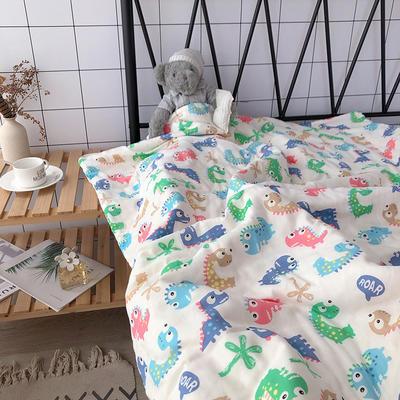 全棉双层纱棉花芯儿童夏被盖被推车毯卡通多功能纱布巾毯 100*140cm 小恐龙