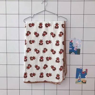 2020新款-出口日本六层纱A类有机纱布儿童盖毯 120*150cm 熊熊