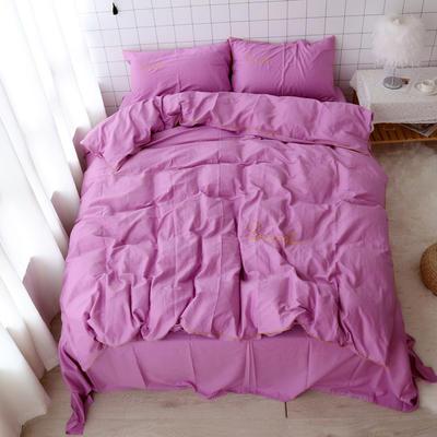 2020新款-全棉40支贡缎刺绣滚边小清新少女心纯棉四件套 床单款四件套1.5m(5英尺)床 紫红
