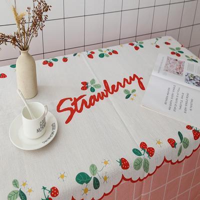 2020新款-超级无敌少女心的亚麻桌布 70*70cm 草莓花边