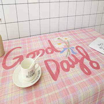 新款格子小清新美少女心卡通可爱亚麻棉麻桌布盖布茶几布草莓笑脸兔子暴富幸运