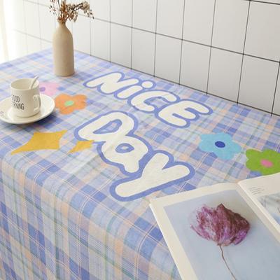 2020新款-超级无敌少女心的亚麻桌布 70*70cm 紫格子