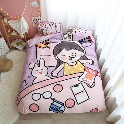 2020新款-磨毛水洗棉原创设计师合作款卡通四件套 1.5m床单款四件套 睡觉女孩