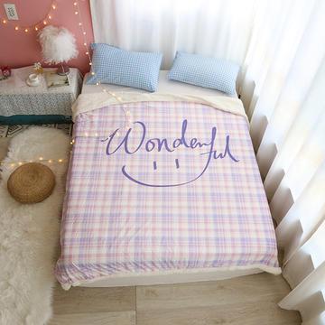 2020新款-四季可用多功能羊羔绒毯日系简约格子条纹少女心办公沙发保暖水晶绒宝宝绒盖毯