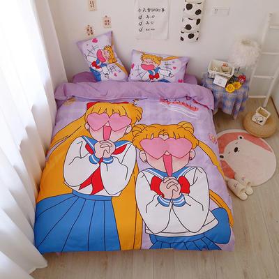 2021棉款美少女战士少女心可卡比熊熊松鼠库洛米卡通可爱软妹四件套宿舍三件套 1.35m宿舍床床单款三件套 搞怪美少女