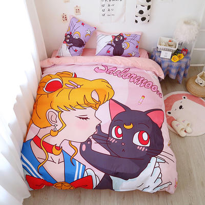2021棉款美少女战士少女心可卡比熊熊松鼠库洛米卡通可爱软妹四件套宿舍三件套 1.35m宿舍床床单款三件套 猫咪美少女