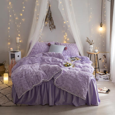 2017 新款秋冬保暖加厚四件套皮草绒云朵泡泡 1.2米床三件套 紫色