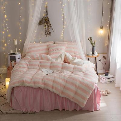 加迪斯秋冬保暖加厚四件套美丽绒 1.2m(4英尺)床 条纹粉