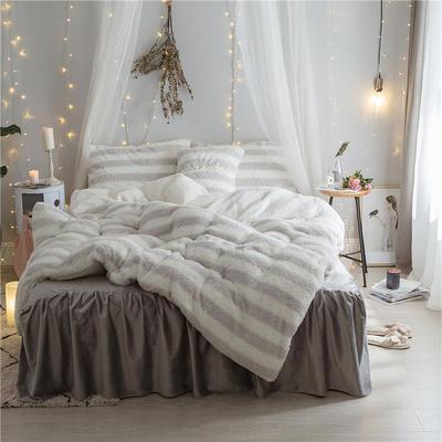加迪斯秋冬保暖加厚四件套美丽绒 1.2m(4英尺)床 条纹灰