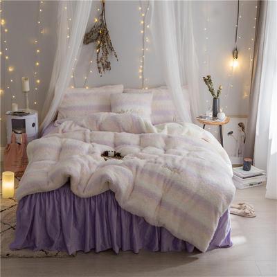 加迪斯秋冬保暖加厚四件套美丽绒 1.2m(4英尺)床 粉白紫
