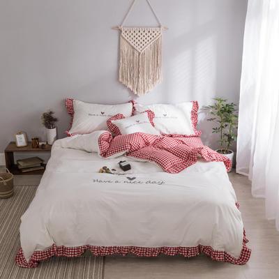 水洗棉系列四件套 仙物·春夏新款-have a nice day 抱枕/个含芯 红格