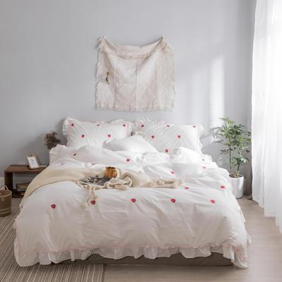 水洗棉系列四件套 仙物·春夏新款-草莓 标准1.5m/1.8m床 草莓·白