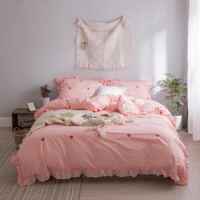 水洗棉系列四件套 仙物·春夏新款-草莓 标准1.5m/1.8m床 草莓·粉