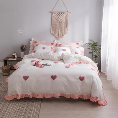 水洗棉系列四件套 仙物·春夏新款-甜心 标准1.5m/1.8m床 甜心·白