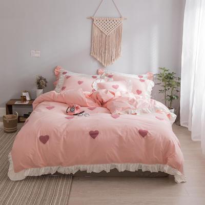 水洗棉系列四件套 仙物·春夏新款-甜心 标准1.5m/1.8m床 甜心·粉