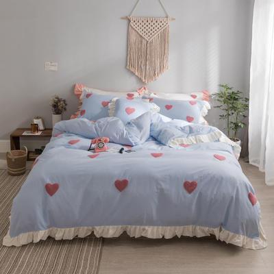 水洗棉系列四件套 仙物·春夏新款-甜心 标准1.5m/1.8m床 甜心·蓝