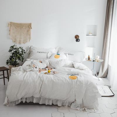 水洗棉系列四件套 【春夏款3】一个菠萝-色织水洗棉 标准1.5m/1.8m床 白色