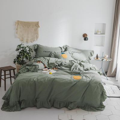 水洗棉系列四件套 【春夏款3】一个菠萝-色织水洗棉 标准1.5m/1.8m床 绿色
