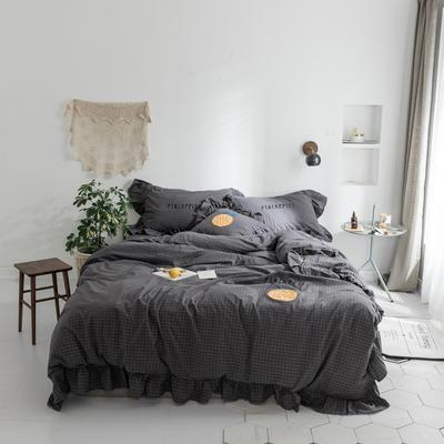 水洗棉系列四件套 【春夏款3】一个菠萝-色织水洗棉 标准1.5m/1.8m床 深灰