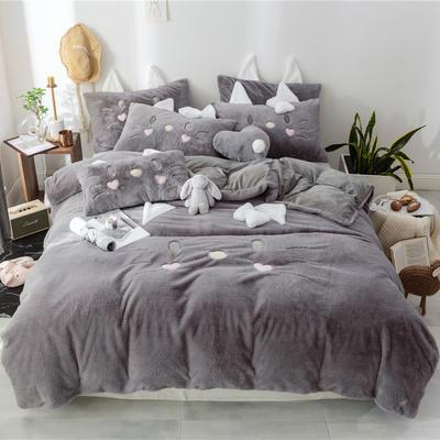 2018新款兔兔绒+牛奶绒四件套--猫咪 1.2m床单款三件套 猫咪灰