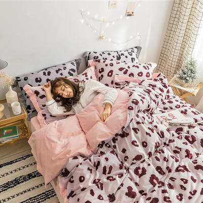 2018新品臻棉绒简约小清新四件套高定系-豹纹 1.2m(4英尺)床三件套 粉豹