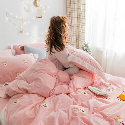 2018新品臻棉绒简约小清新四件套高定系-圣诞鹿 1.2m(4英尺)床三件套 粉色