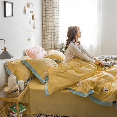 2018新品臻棉绒简约小清新四件套高定系-圣诞鹿 1.2m(4英尺)床三件套 黄色