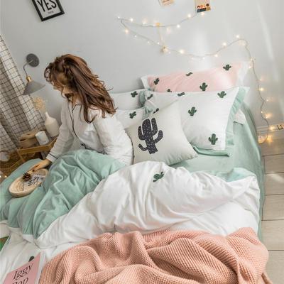 2018新品臻棉绒简约小清新四件套高定系-仙人掌 1.2m(4英尺)床三件套 白色
