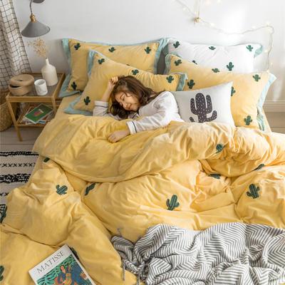 2018新品臻棉绒简约小清新四件套高定系-仙人掌 1.2m(4英尺)床三件套 黄色