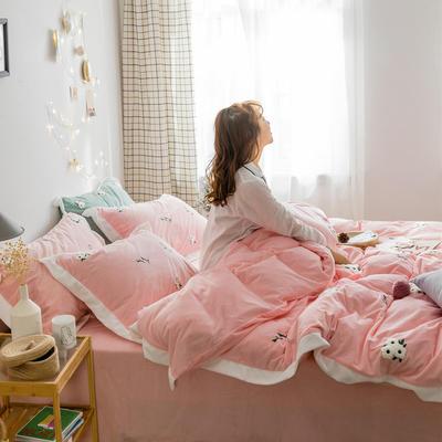 2018新品臻棉绒简约小清新四件套高定系-小雏菊 1.2m(4英尺)床三件套 粉色
