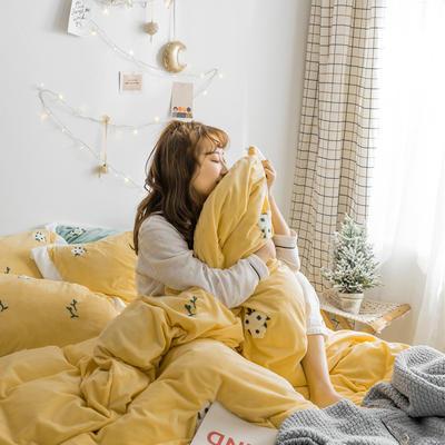 2018新品臻棉绒简约小清新四件套高定系-小雏菊 1.2m(4英尺)床三件套 黄色